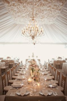 Ruffled tent ceiling with ruched liner and chandelier