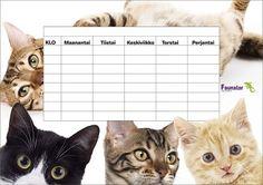Tulosta eläinaiheinen lukujärjestys | Faunatar Back To School, Cats, Prints, Animals, Gatos, Animales, Animaux, Animal, Entering School