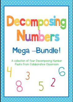 A ton of activities, games, Math Centers and printables to support kid's understanding of decomposing number Elementary Math, Kindergarten Math, Teaching Math, Teaching Ideas, Math Games, Math Activities, Summer Homework, Math Subtraction, School Days