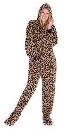 Big Feet Pajamas Adult Leopard Plush Hooded One Piece Footy a83a9b33e