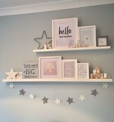 Floating shelves with star garland
