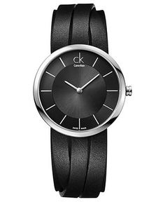 ck Calvin Klein Watch, Womens Swiss Extent Medium Black Leather Strap 32mm K2R2M1C1 - Womens Watches - Jewelry & Watches - Macys