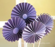 Set of 4 - Rosette Centerpieces,  Wedding, Bridal Shower Decorations - Purple Wedding -  Candy Buffet Decorations, Choose your colors by BeautifulPaperCrafts on Etsy https://www.etsy.com/listing/175154311/set-of-4-rosette-centerpieces-wedding