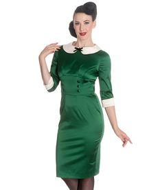 Hell Bunny 50's Money Penny Satin Wiggle Pencil Dress Green