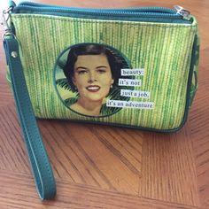 Vintage Print Green Small Zipper Purse. Vintage Print Green Small Zipper Purse. Beauty it's not just a job, it's an adventure.  Good as makeup bag in purse also.  NWOT Bags Mini Bags