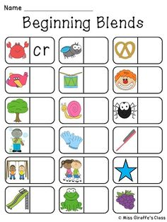 Beginning Blends Domino Literacy Station's recording sheet! Super fun way to practice initial R-blends S-blends and L-blends