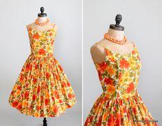Vintage 1960s Dress : 60s Full Skirt Floral Sundress. $88.00, via Etsy.