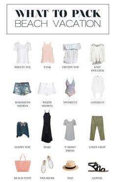 A minimalist's guide for what to pack for a beach vacation beach travel outfit, beach Beach Vacation Packing List, Beach Vacation Outfits, Honeymoon Outfits, Cruise Outfits, Vacation Ideas, Miami Outfits, Cruise Vacation, Vacation Wardrobe, Travel Outfits