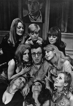 Woody Allen, 1969 — Philippe Halsman (Diane Keaton at top right corner) Woody Allen, Salvador Dali, Play It Again Sam, Philippe Halsman, Werner Herzog, Gena Rowlands, Non Plus Ultra, Diane Keaton, Faye Dunaway