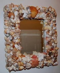 Mirror, Sea Shell Mirror, Rococo Decorative Art Beach Play Mirror. $550.00, via Etsy.