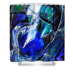 "Glass Abstract 248 Shower Curtain at http://fineartamerica.com/products/glass-abstract-248-sarah-loft-shower-curtain.html.    This shower curtain is made from 100% polyester fabric and includes 12 holes at the top of the curtain for simple hanging.  The total dimensions of the shower curtain are 71"" wide x 74"" tall."