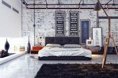Stylish Masculine Bedroom Design White Brick Wall Combined Glass Wall Dark Brown Bed Using White Sheet Arch Llamp On Dark Brown Rug White Floor Tile Real House Design Mens Bedroom Decor Bedroom Mod Interior Design Manly Room Décor Ideas Industrial Bedroom Design, Industrial House, Industrial Interiors, Industrial Apartment, Industrial Chic, Industrial Furniture, Furniture Decor, Industrial Stairs, Industrial Office