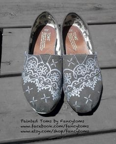 Handpainted Custom TOMS Shoes  Painted Lace by FancyToms on Etsy, $85.00