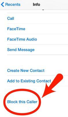 Block caller in iPhone Contacts