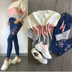 Color Clothing combinations – Just Trendy Girls Girls Fashion Clothes, Teen Fashion Outfits, Outfits For Teens, Look Fashion, Cute Date Outfits, Cute Casual Outfits, Casual College Outfits, Mode Hijab, Outfit Combinations