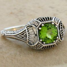 Natural Peridot Antique Art Deco  Sterling Silver Ring