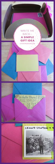 Write Me Back - A Simple Gift Idea. Bring back old-fashioned letter writing with these write me back cards. Such a fun idea and so simple! @littlegirldesigns.com