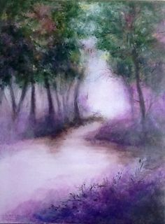Entre ombre et lumière 5 - Brume dans la forêt landaise - acrylique sur toile 61x45 : Peintures par magaline-arts