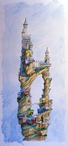 Castle illustration by Hayden Otton. #fantasy #castle #illustration