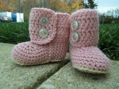 Ugg Baby Boots Inspired Stylish Pink Crochet by cmiron on Etsy