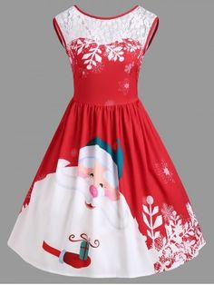 Christmas Lace Insert Santa Claus Print Party Dress - Red Xl Knee-Length  A-Line 451fc1ca1229