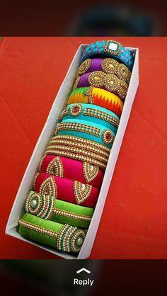 Crafted Silk Thread Jhumkas, Silk Thread Bangles Design, Silk Thread Necklace, Silk Bangles, Bridal Bangles, Thread Jewellery, Fabric Jewelry, Bangles Making, Jewelry Making