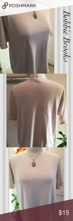 """BOBBIE BRO0KS Soft Beige Cotton/Poly Pullover BOBBIE BROOKS Woman-Size 18W/20W; Beige Short Sleeved High Neck Pullover Top - Armpit to Armpit laying flat 27""""; 26.5"""" from top of Back collar to hem. Soft and Comfy-Pair with Khaki Shorts or Jeans. Dress up or Down! Excellent Condition! BOBBIE BROOKS Tops"""