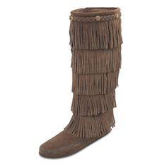 Minnetonka Womens 5 Layer Fringe Boots - Dusty Brown Suede, Women's, Size: 10 - 1658-DST-10
