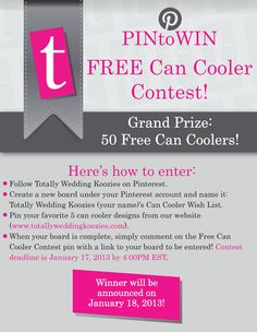 Thanks to everyone that entered! This contest is now closed. Congratulations to Kristy Ore for winning our contest! Please email your graphic designer at jlammers@totallypromotional.com to start the design process on your free can coolers!