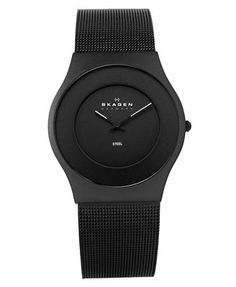 Skagen - Men's Black Ion Plated Stainless Steel Mesh Watch