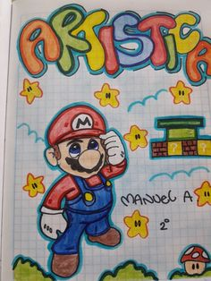 Mario bross Front Page Design, Page Borders Design, Border Design, Best Friend Drawings, Notebook Art, Cute Easy Drawings, School Notebooks, Notes Design, Decorate Notebook