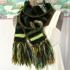 Green Crochet Scarf, Scrappy, Eco-Friendly, Crazy Wild Random, Forest Chartreuse, Happy, Boho Gypsy
