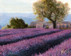 """Lavender  This is a commission that I just finished for a friend from High School. She is redecorating her bedroom in a """"Country French"""" style and needed a couple paintings for the room. I suggested two pastels of the French countryside. One with Lavender (this one) and another with Sunflowers. She loves them!    The Original is SOLD."""