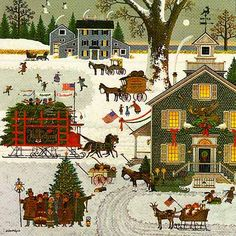1982 CHRISTMAS PRINT By Charles Wysocki