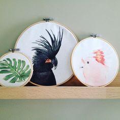 Nog meer gave wanddeco's!! De grootste is diameter20cm voor € 9,95! #kaketoezwart #vogelpink € 7,95 #botanical € 5,95. Supergaaf in een setje! Kom nog niet in de webshop, bestellingen via email! #kaketoe #instantcrush #borduurringen #wanddecoratie!
