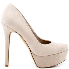 Earn your fashion credentials in this stunner from Jessica Simpson. Waleo brings you a soft grey suede upper. This pump is complete with a picture perfect almond shaped toe, 4 3/4 inch heel and 1 1/4 inch platform.