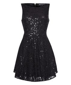 Love this Black Sequin Lace A-Line Dress by Iska London on #zulily! #zulilyfinds
