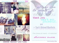 Soul Manifesto Vision Board. Your Soul's Essence and Heart's Desires - to inspire you and help with your creative expression of who you are. Have your own Soul's Beloved Personal Manifesto created for you. This is an INTRODUCTORY offer includes a 10 min. skype call for locals in Calgary, includes research and a custom Soul Manifesto Digital Vision Board. www.kendrakeir.com Digital Vision Board, Digital Art, Authentic Self, Calgary, Ethereal, Mixed Media, Inspire, Paintings, Learning