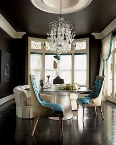 A Divine Dining Room turquoise and brown