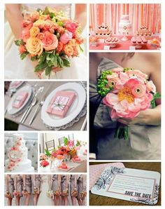 Coral & gray wedding ... Wedding ideas for brides, grooms, parents & planners ... https://itunes.apple.com/us/app/the-gold-wedding-planner/id498112599?ls=1=8 … plus how to organise an entire wedding, without overspending ♥ The Gold Wedding Planner iPhone App ♥