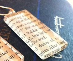 What a nice idea--necklaces made from a page of your favorite book. Etsy.