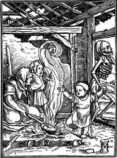 Hans Holbein the Younger (1497 - 1543): »Les Simulachres & historiees faces de la Mort, autant elegamment pourtraictes, que artificiellement imaginées«. Published by Melchior and Caspar Trechsel for Frellon in Lyon. Woodcut, 1538.