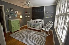 Gray nursery with chalkboard accent wall - we love the fab details in this baby room!