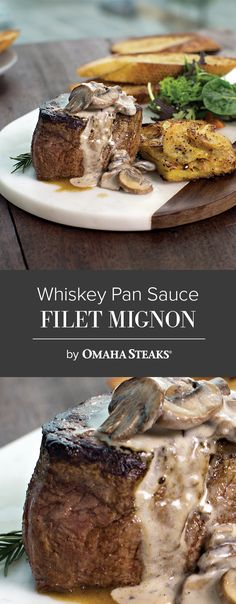 Filet Mignon in a Whiskey Pan sauce with Mushrooms and Potato-Leek Squares