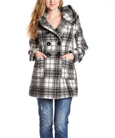 Another great find on #zulily! Black & White Plaid Hooded Peacoat - Women by INTL d.e.t.a.i.l.s. #zulilyfinds