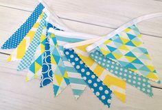 Bunting, Banner, Photography Prop, Fabric Flags, Nursery Decor, Birthday Decoration, Garland - Yellow, Aqua Blue, Teal Blue, Chevron, Dots