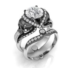 Custom Made Skull Engagement Ring