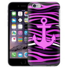 Apple iPhone 6 Anchor on Pink Black Zebra Print Case from Trek Cases