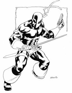 Deathstroke by Robert Atkins Comic Book Drawing, Comic Books Art, Comic Art, Book Art, Deathstroke The Terminator, Deadshot, Best Sleeve Tattoos, Comic Book Covers, Art
