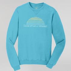 Rise and shine withGood Mythical Morning and your new favorite soft and cozy crewneck sweatshirt. Details:- 80% cotton, 20% polyester.- Premium quality, modern